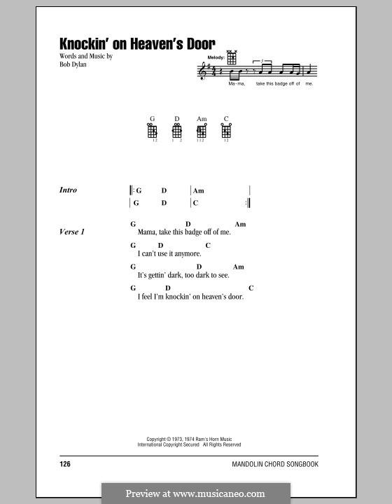 Knockin' on Heaven's Door: For mandolin by Bob Dylan