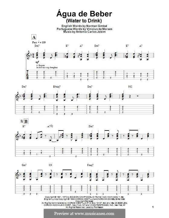 Agua de Beber (Water To Drink): Para guitarra com guia by Antonio Carlos Jobim
