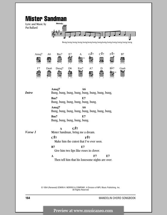Mister Sandman (The Chordettes): For mandolin by Pat Ballard