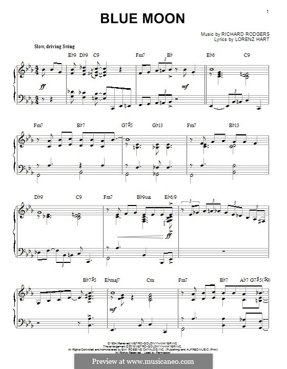 Blue Moon: Para Piano by Richard Rodgers