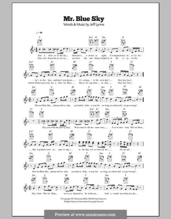 Mr. Blue Sky (Electric Light Orchestra): para ukulele by Jeff Lynne
