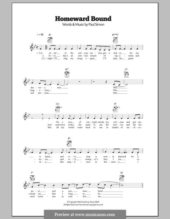 Homeward Bound (Simon & Garfunkel): para ukulele by Paul Simon