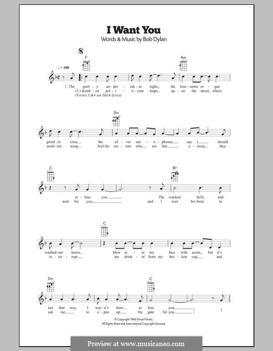 I Want You: para ukulele by Bob Dylan