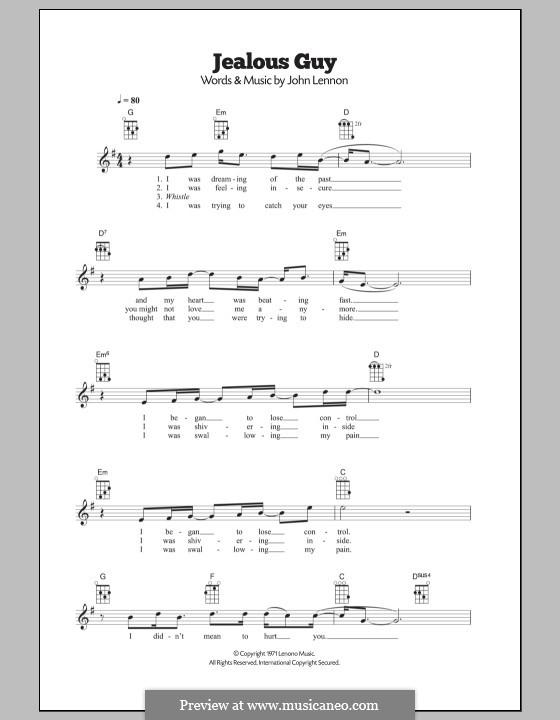 Jealous Guy: para ukulele by John Lennon