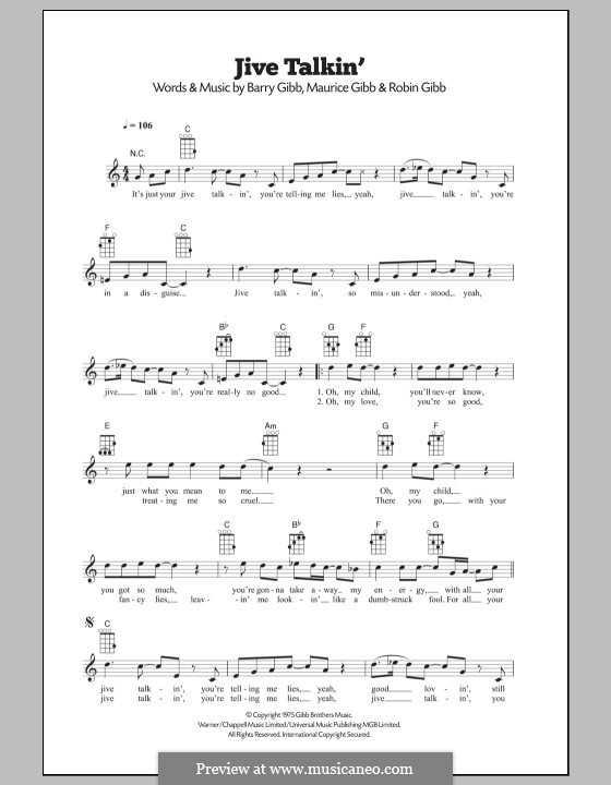 Jive Talkin' (The Bee Gees): para ukulele by Barry Gibb, Maurice Gibb, Robin Gibb