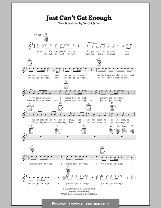 Just Can't Get Enough (Depeche Mode): para ukulele by Vince Clarke
