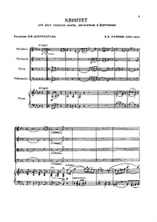 Quintet for Strings and Piano in E Flat Major: Score, parts by Alexander Alyabyev