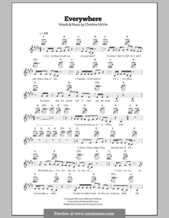 Everywhere (Fleetwood Mac): para ukulele by Christine McVie