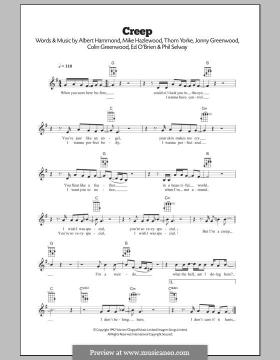 Creep (Radiohead): para ukulele by Albert Hammond, Colin Greenwood, Ed O'Brien, Jonny Greenwood, Mike Hazelwood, Phil Selway, Thomas Yorke