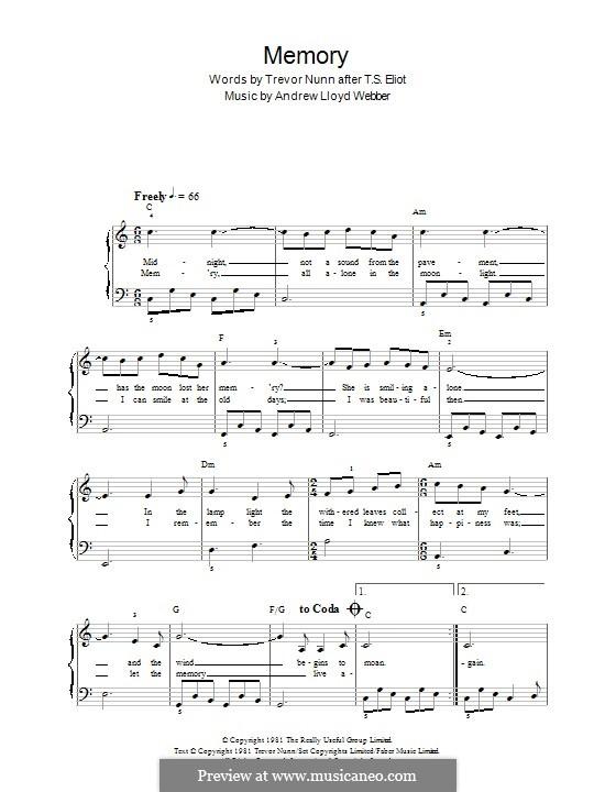 Memory (from Cats): para piano (C maior) by Andrew Lloyd Webber