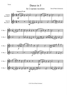 Dance in 5: For two descant recorders by David W Solomons