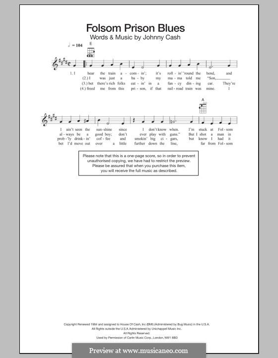 Folsom Prison Blues: para ukulele by Johnny Cash