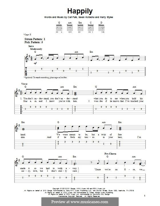 Happily (One Direction): Para guitarra com guia by Carl Falk, Savan Kotecha, Harry Styles