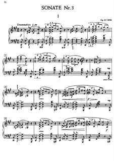 Sonata for Piano No.3, Op.23: For a single performer by Alexander Scriabin