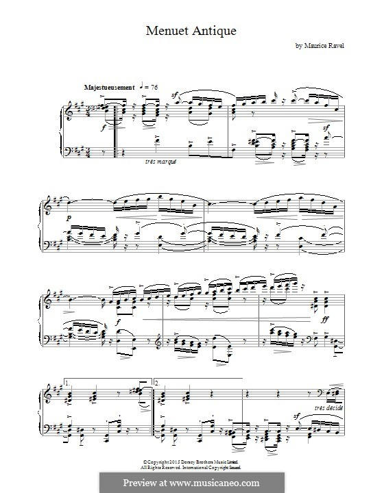 Menuet antique, M.7: Para Piano by Maurice Ravel
