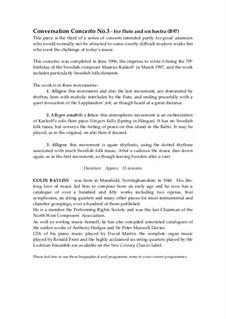 Flute Concerto (Conversation Concerto No.3): partitura by Colin Bayliss