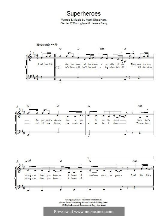 Superheroes (The Script): Para Piano by Danny O'Donoghue, Mark Sheehan, James Barry
