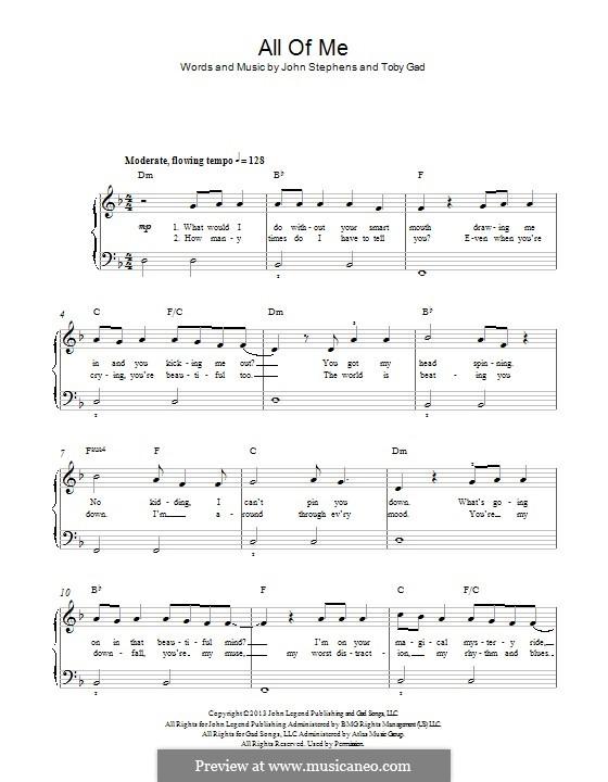 All of Me: para piano (D menor) by John Stephens, Tobias Gad