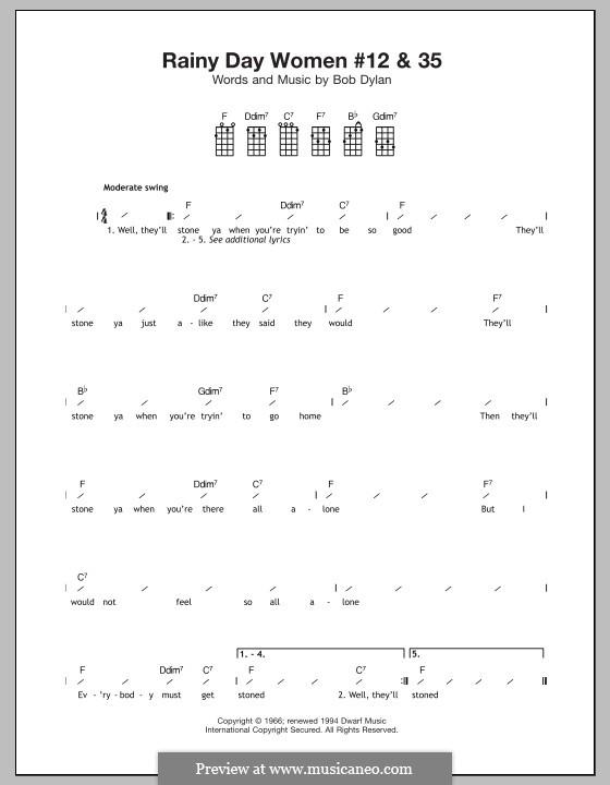 Rainy Day Woman No.12 & 35: para ukulele by Bob Dylan