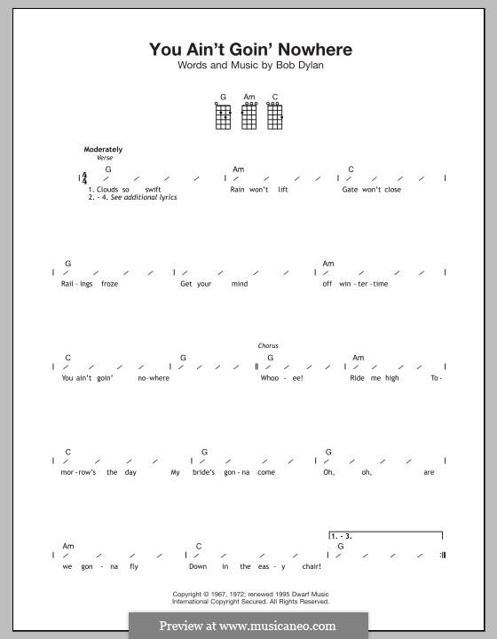 You Ain't Goin' Nowhere: para ukulele by Bob Dylan