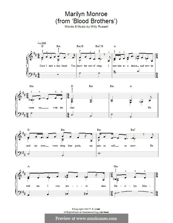 Marilyn Monroe (from Blood Brothers): Para Piano by Willy Russell