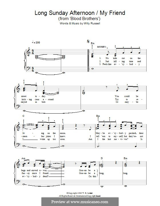 Long Sunday Afternoon/My Friend (from Blood Brothers): Para Piano by Willy Russell