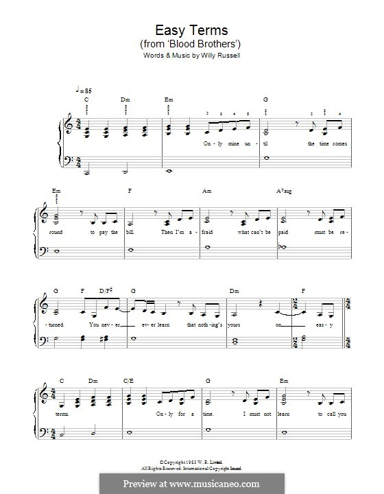 Easy Terms (from Blood Brothers): Para Piano by Willy Russell