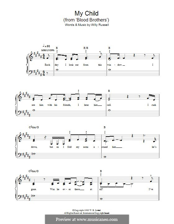 My Child (from Blood Brothers): Para Piano by Willy Russell