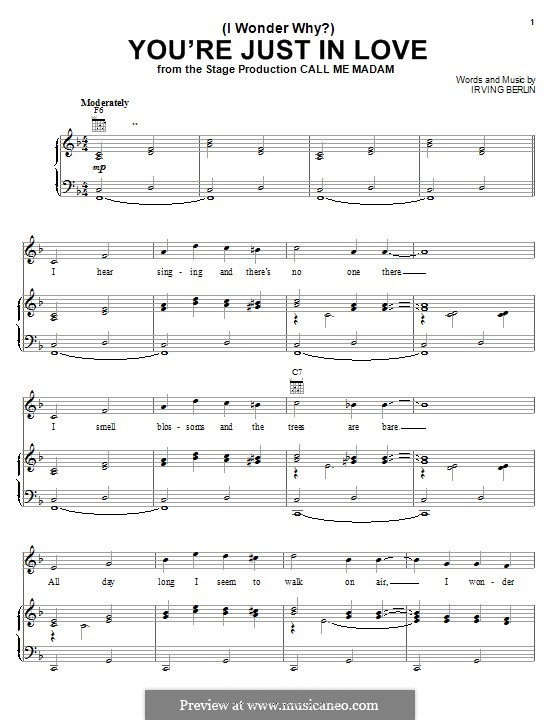 (I Wonder Why?) You're Just in Love: Para vocais e piano (ou Guitarra) by Irving Berlin