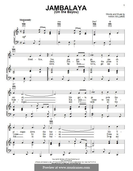 Jambalaya (On the Bayou): Para vocais e piano (ou Guitarra) by Hank Williams