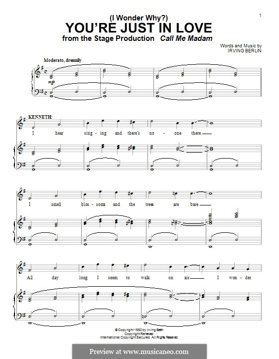 (I Wonder Why?) You're Just in Love: Para vocais e piano by Irving Berlin