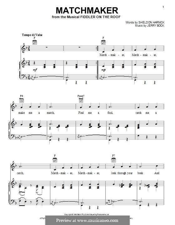 Matchmaker (from The Fiddler on the Roof): Para vocais e piano (ou Guitarra) by Jerry Bock