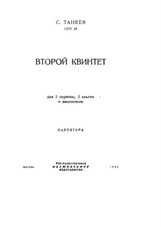 String Quintet No.2 in C Major, Op.16: Partitura completa by Sergei Taneyev