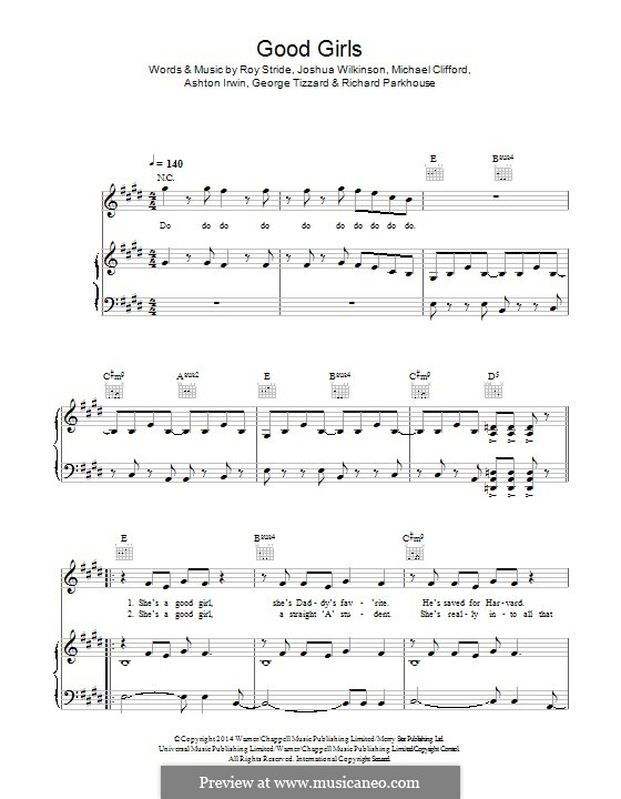 Good Girls (5 Seconds of Summer): Para vocais e piano (ou Guitarra) by Roy Stride, Michael Clifford, Ashton Irwin, George Tizzard, Richard Parkhouse, Josh Wilkinson