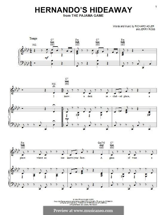 Hernando's Hideaway: Para vocais e piano (ou Guitarra) by Jerry Ross, Richard Adler