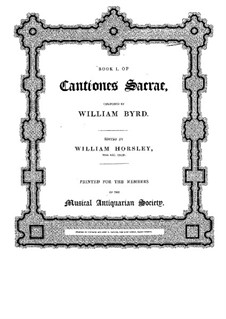 Cantiones Sacrae: No.1-15 by William Byrd