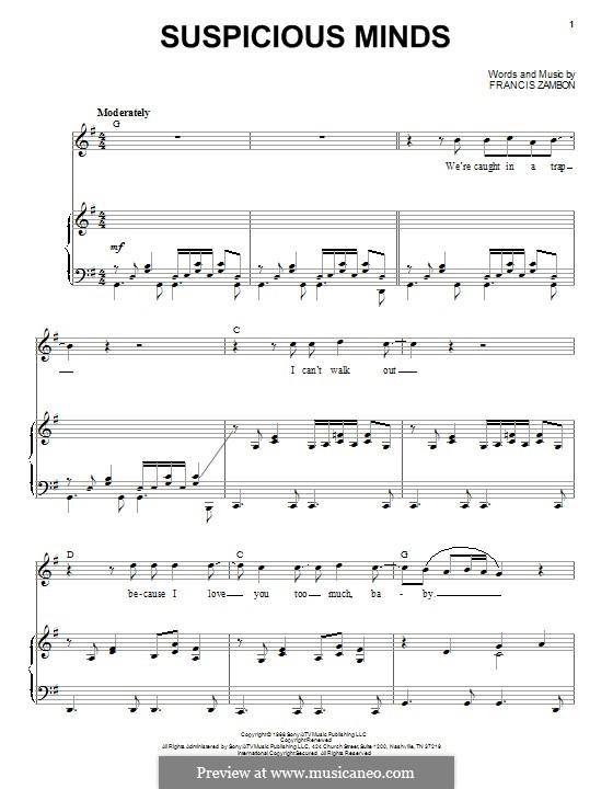 Suspicious Minds (Elvis Presley): Para vocais e piano by Francis Zambon