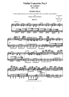 Concerto for Violin, Strings and Basso Continuo No.1 in A Minor, BWV 1041: Movement II Andante, for piano by Johann Sebastian Bach