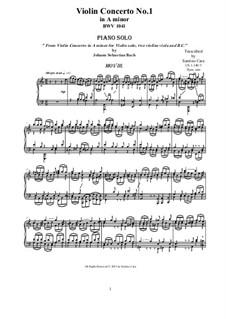 Concerto for Violin, Strings and Basso Continuo No.1 in A Minor, BWV 1041: Movement III Allegro assai, for piano by Johann Sebastian Bach