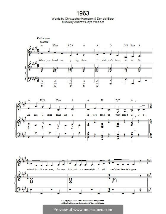 1963 (from 'Stephen Ward'): Para vocais e piano by Andrew Lloyd Webber