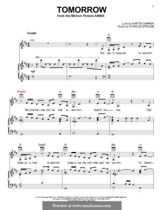 Tomorrow (from Annie): Para vocais e piano (ou Guitarra) by Charles Strouse