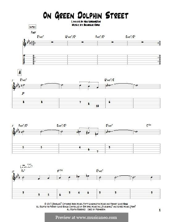 On Green Dolphin Street: Para guitarra com guia by Bronislau Kaper