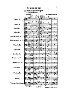 Overture for Orchestra in Italian Style in C Major, D.591 Op.170: Partitura completa by Franz Schubert