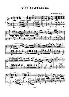 Four Polonaises for Piano Four Hands, D.599 Op.75: Partitura piano by Franz Schubert