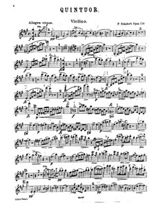 Quintet for Strings and Piano 'The Trout', D.667 Op.114: parte do violino by Franz Schubert