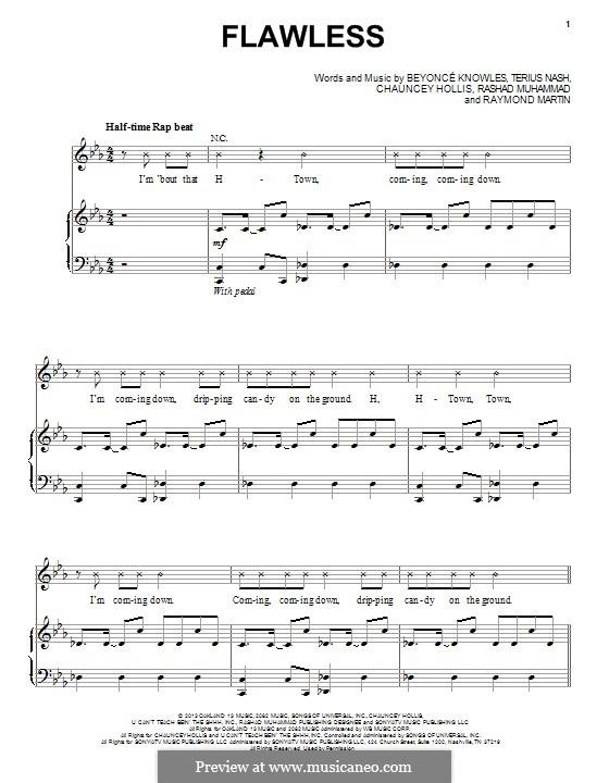 Flawless: Para vocais e piano (ou Guitarra) by Beyoncé, Terius Nash, Chauncey Hollis, Rashad Muhammad, Raymond Martin