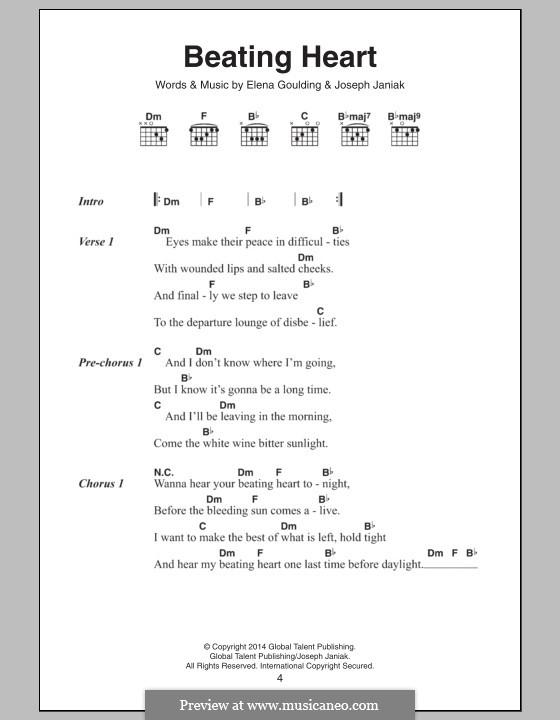 Beating Heart: Letras e Acordes by Ellie Goulding, Joseph Janiak