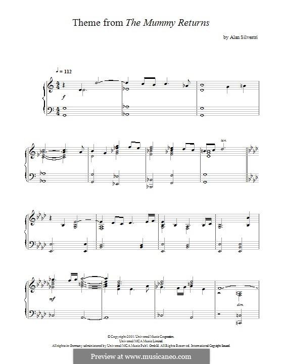 The Mummy Returns (The Mummy Returns): Para Piano by Alan Silvestri