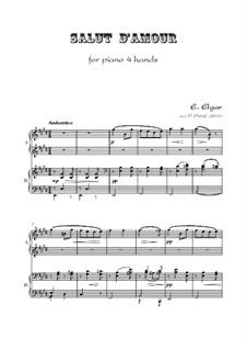 Salut d'amour (Love's Greeting), Op.12: para piano de quadro mãos by Edward Elgar