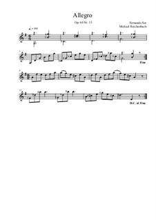Twenty-Five Progressive Etudes, Op.60: Etude No.15, for violin (or mandolin, or mandola) by Fernando Sor